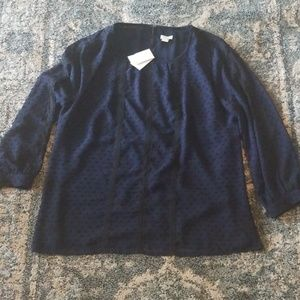 NWT JCrew Polka Dot Blouse with Lace Detail